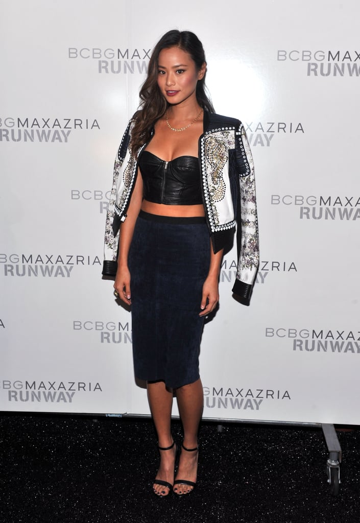 Jamie Chung showed skin while attending the BCBG Max Azria show on Thursday.