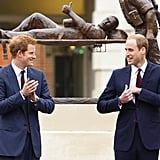 They stood together in front of the Help For Heroes statue in May 2013.