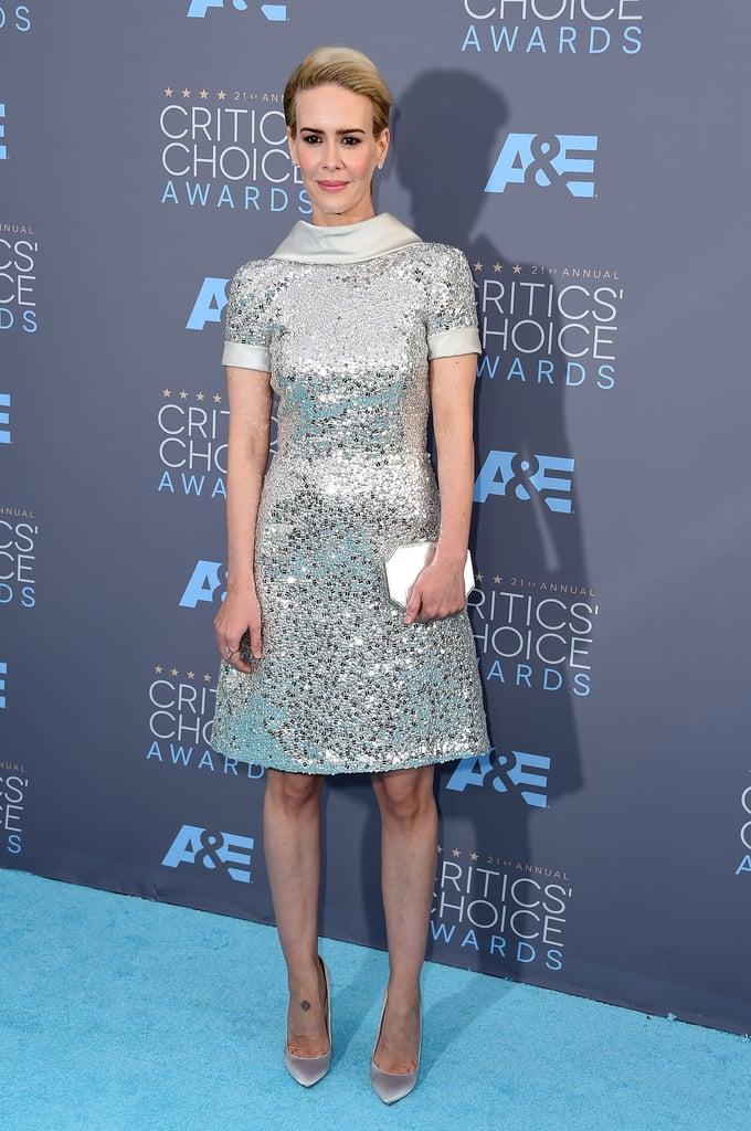 Sarah Paulson shines in a Naeem Khan silver-sequined dress
