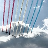 "The French ""Patrouille de France"" alphajets spread Bastille Day color during the annual parade."