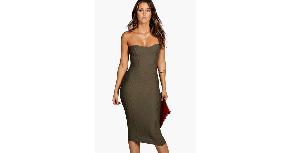 e98a63323671 boohoo Gia Bandeau Bandage Midi Bodycon Dress | Khloe Kardashian Wearing a Bodycon  Dress Pregnant | POPSUGAR Fashion Australia Photo 3