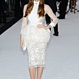 Jessica Biel wore a sheer and lace dress to the Total Recall premiere in London.