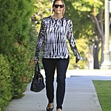 Jennifer Garner left a meeting in LA wearing a tie-dye top.