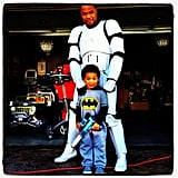 Xzibit and His Son as a Stormtrooper and Batman