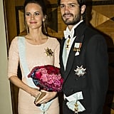 Princess Sofia accessorized her glittering maxi with gorgeous diamond drop earrings and a sparkly gold clutch.