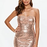 Missguided Gold Sequin Bandeau Mini Dress