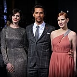Matthew McConaughey, Jessica Chastain, and Anne Hathaway made for a gorgeous trio at London's Wednesday night Interstellar premiere.