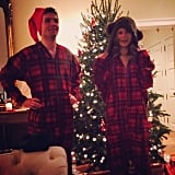 Taylor Swift and her brother rocked matching Christmas onesies. Source: Instagram user taylorswift