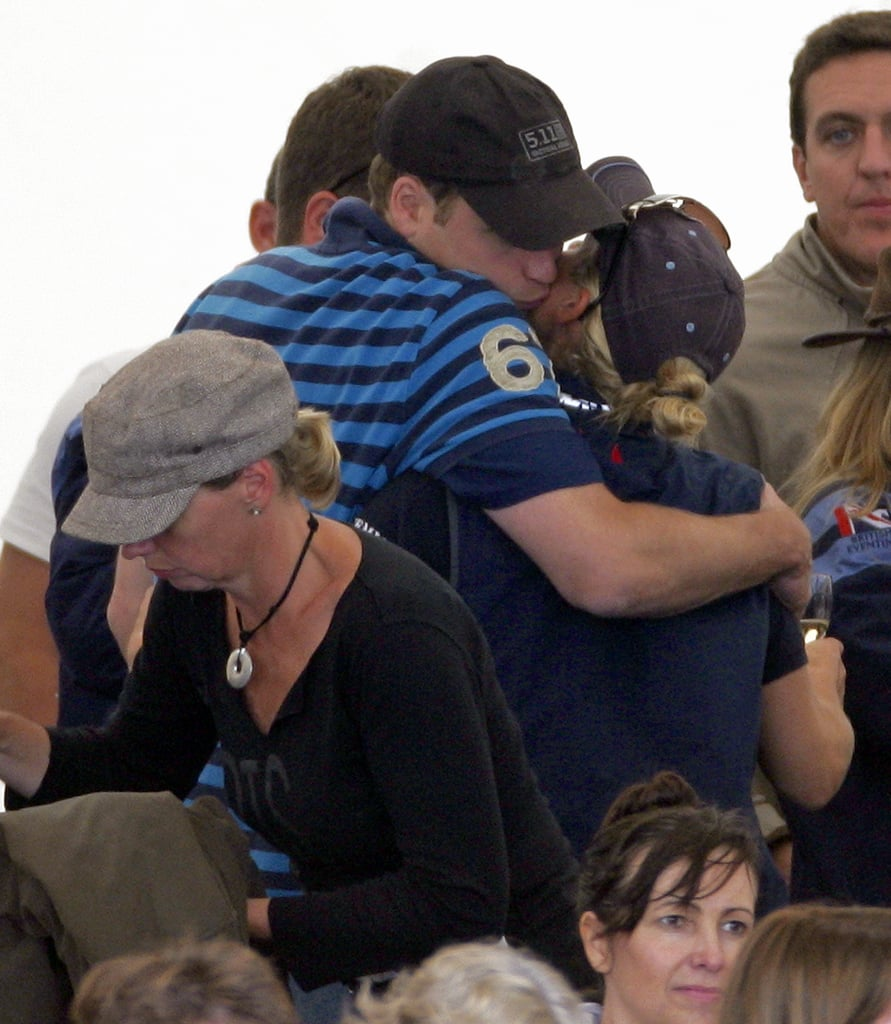 Zara seems to be the most prolific and enthusiastic kisser in the family — pictured here with William at the Festival of British Eventing in 2010.