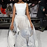 We're completely smitten with Kerry's London premiere look — she is a Winter wonderland personified in this icy Giles gown. While the train of the dress is printed and seriously dramatic, we love that you can still see her white Christian Louboutin pumps in plain view. To finish, she carried a silver box clutch. Perfection.