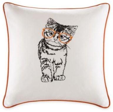 Madison Park HipStyle Cat Square Pillow in Orange