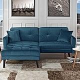 Mid-Century Modern Brush Microfiber Futon Sofa Bed