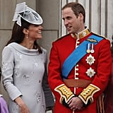 She and Prince William shared a sweet moment as the royal family stood on the balcony.