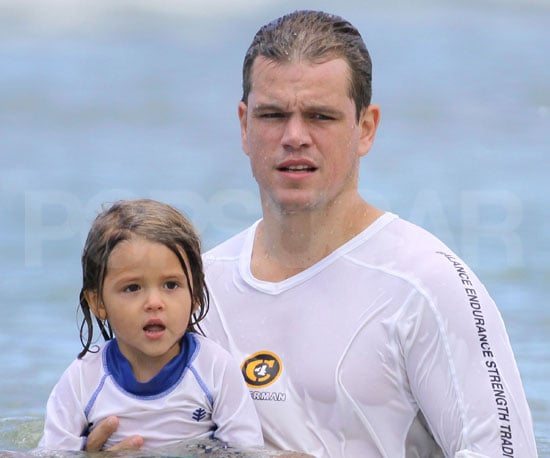 Photo Slide of Matt Damon and His Daughter Isabella Swimming in Hawaii