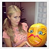 Paris Hilton showed off her girly jack-o'-lantern. Source: Instagram user parishilton