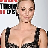 Kaley completed her design with stud earrings, playing up the sparkly beaded embroidery.