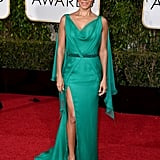 Jada Pinkett Smith in an Atelier Versace slit-front, draped-back gown
