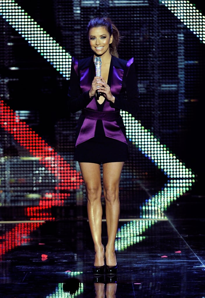 Eva took to the 2010 MTV Europe Music Awards stage in a high-shine violet ensemble.
