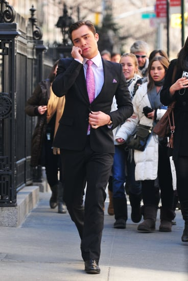 Pictures of Ed Westwick As Chuck Bass On Set Filming Gossip Girl in New York City