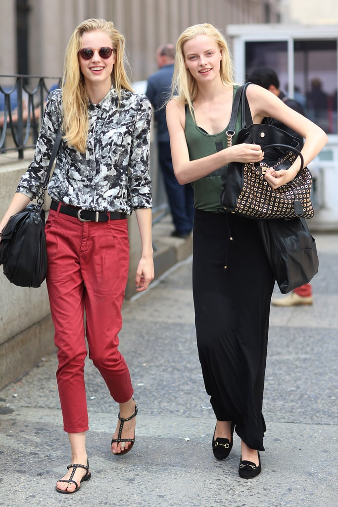 A model duo showed off two takes on easy separates — one tailored, one breezy. Source: Greg Kessler