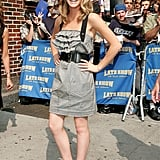 Back in 2007, when thick black belts were popular, Emma wore one with her dress to The Late Show with David Letterman.