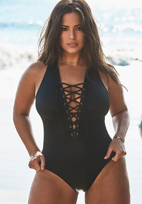 Ashley Graham x Swimsuits For All CEO Lace Up One Piece Swimsuit