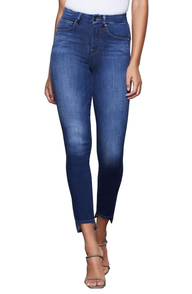 Good American Good Waist High-Waist Step Hem Skinny Jeans