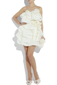 This Lanvin creation is short, sweet, and flirty.  Lanvin Tiered Silk-Gazar Dress ($4,960)