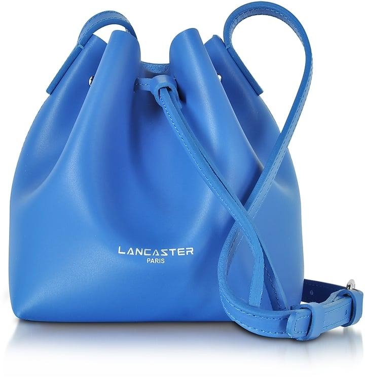 Lancaster Paris Pur Smooth Blue Leather Mini Bucket Bag