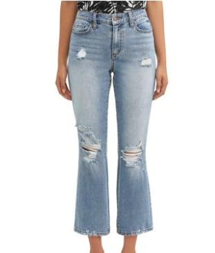 High Waist Destructed Crop Flare Jean
