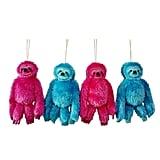Jingle City Plush Sloths Christmas Ornament Set