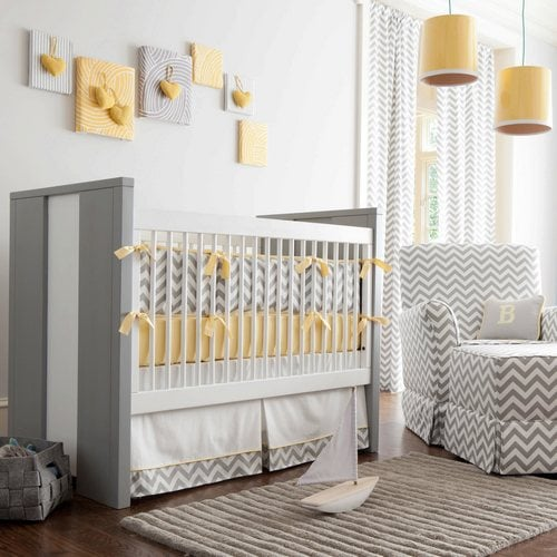 Carousel Designs Gray and Yellow Zig Zag Crib Bedding ($24-134)