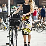"There's nothing quite so statement-making as a skirt that literally says ""pow!"" Source: Le 21ème 