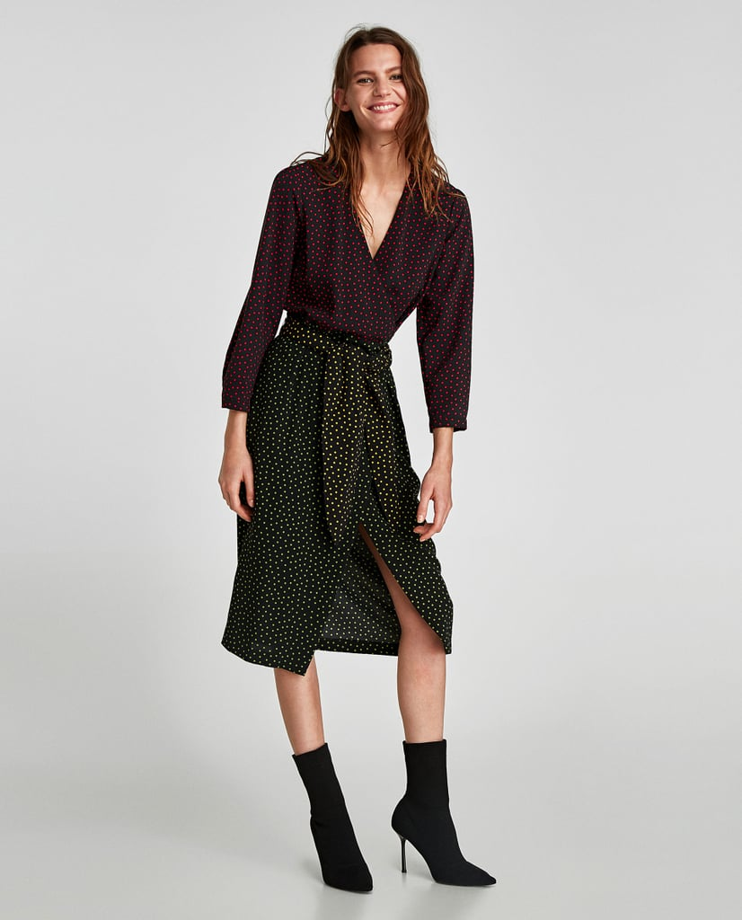 b60c33c8 Zara Polka Dot Wrap Dress | Best Fall Dresses | POPSUGAR Fashion Photo 2