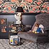 """According to Tamara, """"The room feels eclectic, dramatic, and energized with layers including the Moroccan rug, poufs, and a blanket that add another layer to the mix."""" Photos courtesy of: Marco Ricca"""
