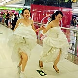 Brides wearing wedding dresses competed in a race in Guangzhou, China.