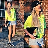 A patent leather clutch can add a more formal tone to your funky-fresh neon outfit. Photo courtesy of Lookbook.nu
