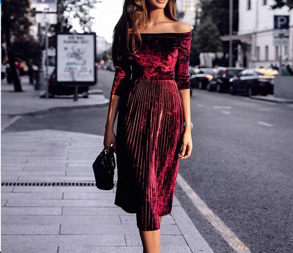 Leezeshaw Off-Shoulder Velvet Midi Dress