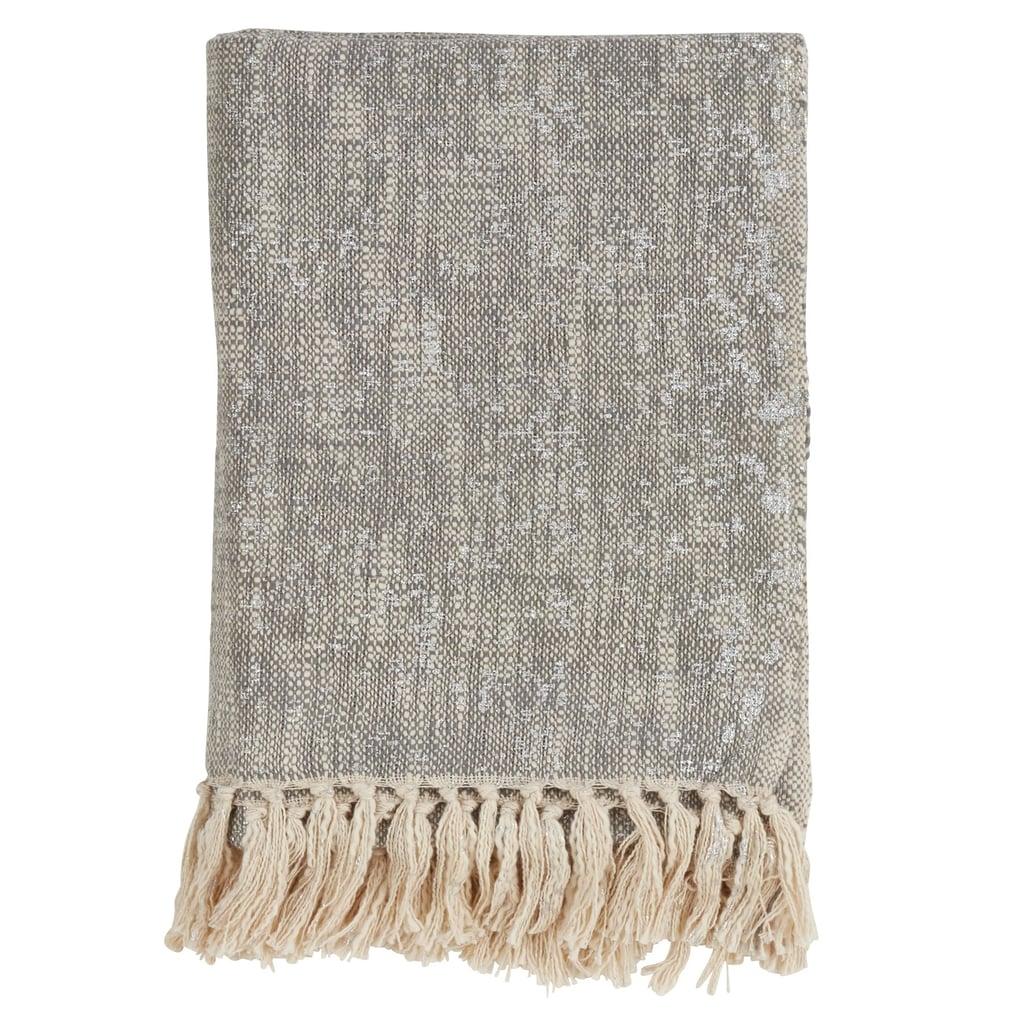 Bonnie: Foil Print Tasseled Throw Blanket