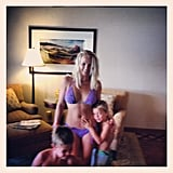 "Britney, Sean Preston, and Jayden slipped into their swimsuits for ""some pool time!"" Britney wrote in July 2012."