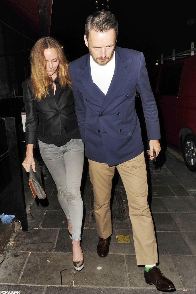 Stella McCartney and her husband met up with David Beckham at a pub in London.