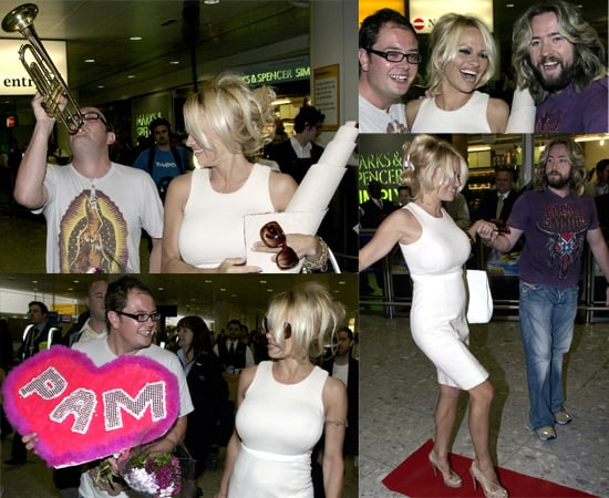 Alan Carr And Justin Lee Collins Greet Co-Host Pamela Anderson At Heathrow Airport
