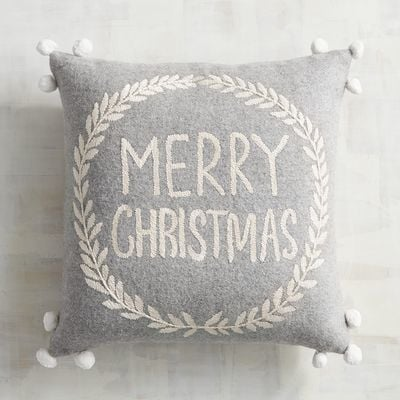 Pompom Merry Christmas Pillow ($30)