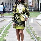 A printed blouse and skirt match-up.