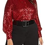 Halogen x Atlantic-Pacific Bishop Sleeve Sequin Shirt