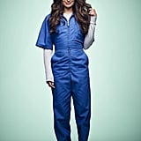 What to wear: Season two Hester ditches her neck brace for what looks like a blue (prison?) jumpsuit layered on top of a gray, long-sleeved shirt. Pair it with some navy blue slip-on shoes and you'll be good to go.