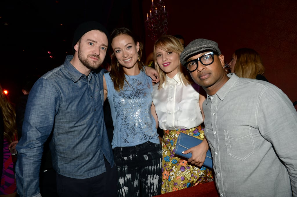 Justin Timberlake linked up with Olivia Wilde and Dianna Agron at the new Myspace launch in LA.