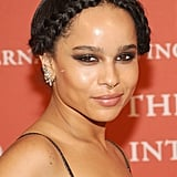 Instead of a typical milkmaid braid, Zoe Kravitz opted for something tight along her hairline.