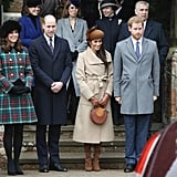 William and Meghan stood comfortably next to each other following Christmas Day services in Sandringham in 2017.
