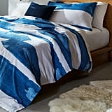Rivet Modern Shibori Watercolor Gaurmet-Washed Stripe Full/Queen Duvet Cover Set